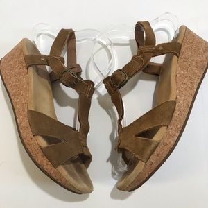 Clarks Elements Suede Strappy Cork Wedges